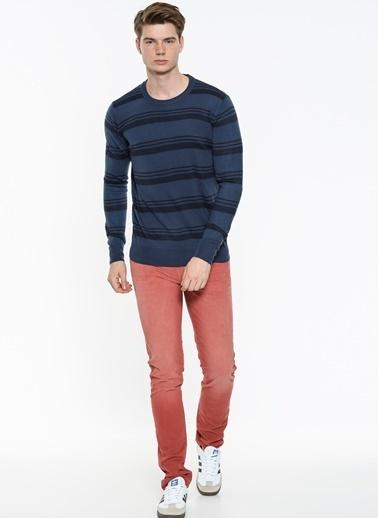 Mavi Çizgili Triko Renkli